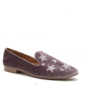 Rose Gold Velvet Star Embellished Flat Loafers
